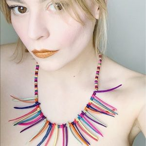 Vintage Wooden Rainbow Beaded Collar Necklace